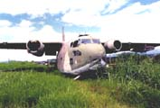 The 1954 model, C-123 paratroop/cargo plane, provided by the CIA and Ollie North for the Contra/Sandinista 1980's guerilla war in Nicaragua, in the San Jose airport before disassembly.